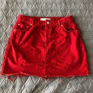 Red Topshop Denim Skirt